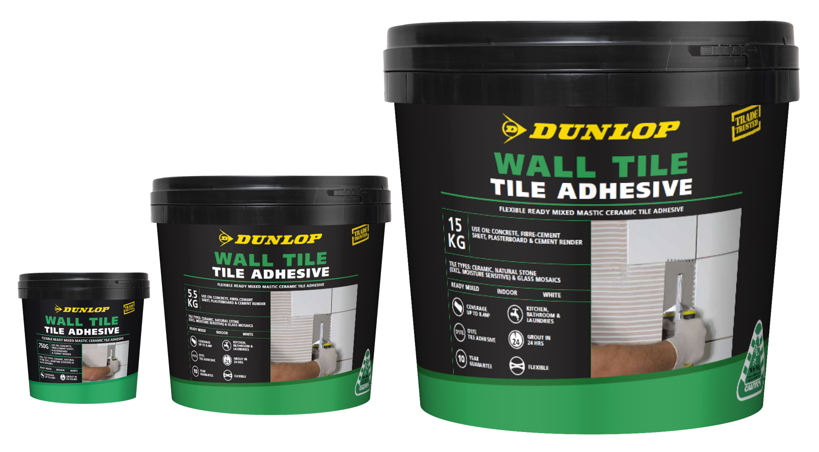 to show all three DUNLOP wall tile adhesive products in a group packshot